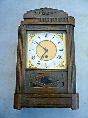Vintage Wooden & Glass Clock - For Spares Or Repair - Not Working