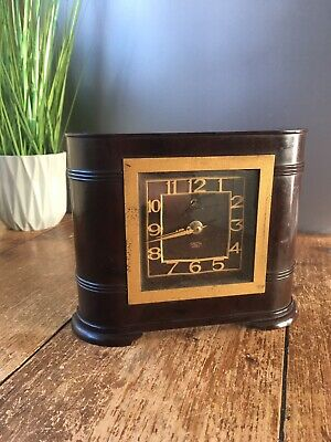 Beautiful Art Deco Brown Bakelite Smiths Sectric Electric Mantel / Desk Clock