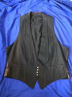 Mens Original Late 1800's / Early 1900's Formal Vest - Black With Gold Buttons