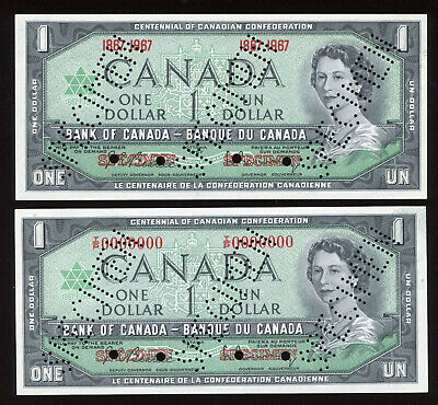 1967 Bank of Canada Rare Specimen Pair of $1 Banknotes - Serial #'d 273