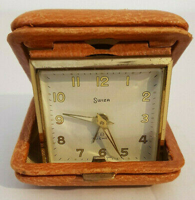 VINTAGE SWIZA SWISS 8 DAY TRAVEL ALARM CLOCK - Sold as parts/non working