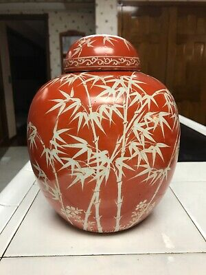 Beautiful Antique Chinese Porcelain Tea Caddy Jar Orange Glaze Bamboo Design