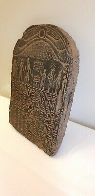 Ancient Egyptian Black Glazed Stone Relief Panel With Heiroglyphics