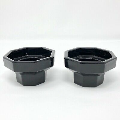 Arcoroc Octime Candle Holders Set Of Two Black Glass Octagonal Made In France