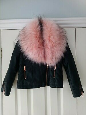 Girls Black Faux Leather Jacket With Pink detachable Fur collar Size 8-9 Excell