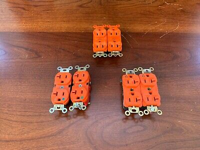 (6) Pass & Seymour Or Hubbell Orange Duplex Recptacle (Ig5362) (Ig6300) 20A 125V