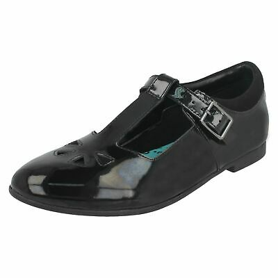 Clarks Selsey JNR Patent Black Leather Girls T-Bar School Shoes Size 2.5 G Wide