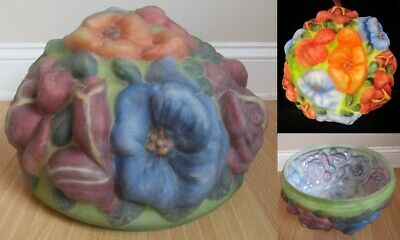 """PAIRPOINT lamp shade antique puffy REVERSE HAND PAINTED 12"""" FITTER flowers RARE!"""
