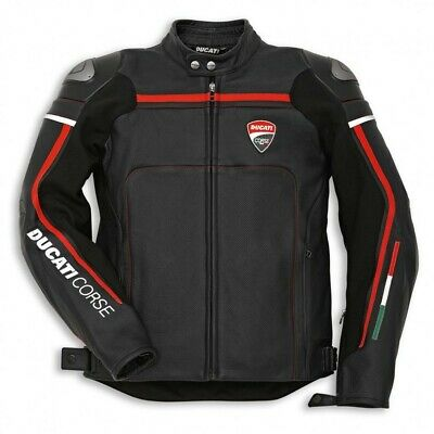 Ducati Corse Black Motorbike Jacket  Cowhide Leather All sizes-Replica