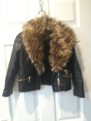 Girls leather faux fur coat jacket size 6 years River Island
