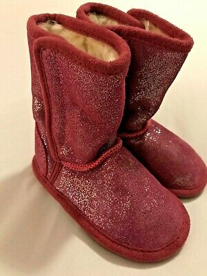 Bnwt Girls Pink Glittery Fake Fur Lined Leather Boots From M&S Uk4 Eu 20.5