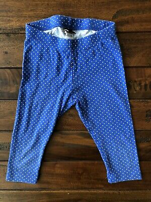 Girls - Tea Collection - Blue White Polka Dot Leggings Crop Capris Size 4 EUC