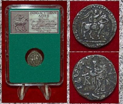 Ancient Coin INDO-SCYTHIAN AZES II King Horseback MUSEUM QUALITY Silver Drachm