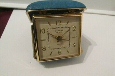 Vintage Deleware De Luxe travelling Alarm Clock working made by foreign Germany