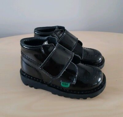 KICKERS Kids Girls Black Patent Leather Boots__EUR 25 / UK 8 Infant