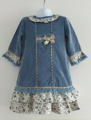 *Worn once* ALBER Girls Blue Floral Frill Dress Traditional Spanish ❤️ 10 Years