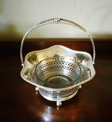 Decorative Antique 800 German Silver Ball Footed Basket marked WTB