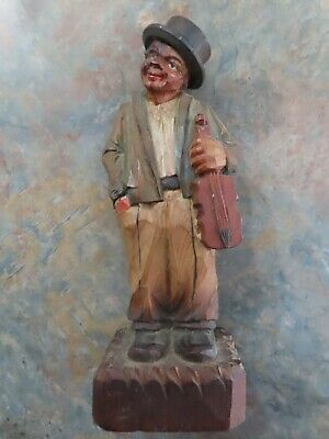 Antique  Hand Carved Wooden Hobo Musician Figure
