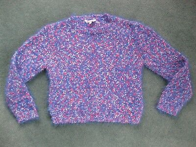 Lovely girls fashionable blue pink & white cropped fluffy jumper 11 - 12 years