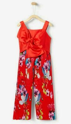 Baker By Ted Baker Girls Red Kaliza Pleated Party Orange Jumpsuit Age 5 years