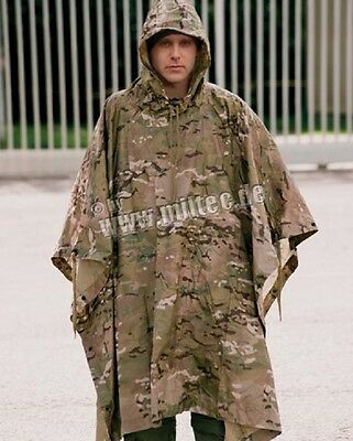 Multicamo Army Outdoor US Poncho Rain Moisture Protection Tarpaulin
