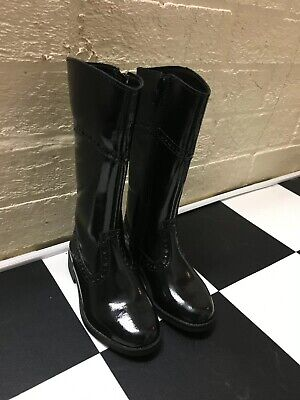 Clark's Sami Boots Patent Leather Girls Size Uk 7.5 F Black Brogue