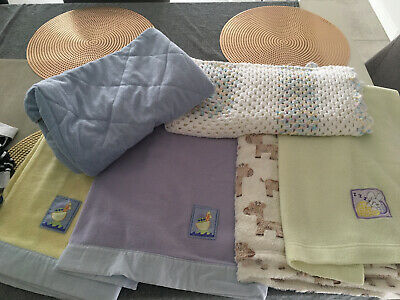 Travel Cot Fitted Sheet Blue And Assorted Baby Blanket/