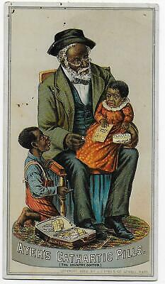 BLACK DOCTOR Promotes AYERS PILLS 1880s Quack Medicine Adv Trade Card