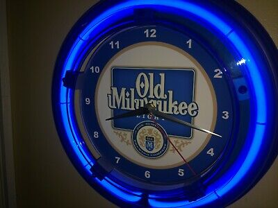 Old Milwaukee Light Beer Bar Advertising Man Cave Blue Neon Wall Clock Sign