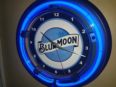 Blue Moon Beer Bar Man Cave Advertising Blue Neon Wall Clock Sign
