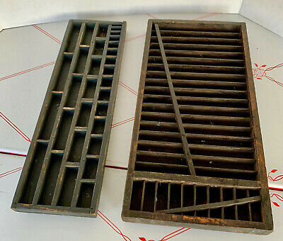 (2) Vintage Wood Wooden Printers Typeset / Letter Tray Drawer Box