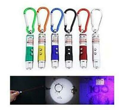 3 in 1 Mini Red Laser Pointer with LED Torch UV Light Beam Biner Keyring Cat Toy