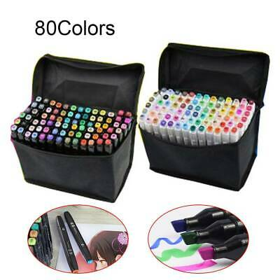 80 Colors Oily Alcohol Twin Tips Graphic Art Markers Pen Fine Broad Gel Pens