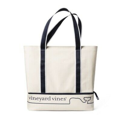 VINEYARD VINES for Target Whale Line BEACH TOTE Cooler BAG Navy Blue White Cream