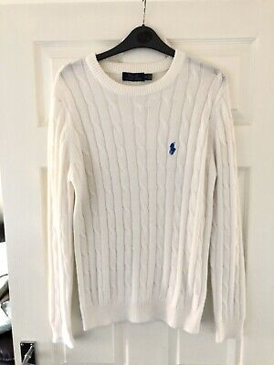 Polo By Ralph Lauren Men's Cable Knit Jumper White Size Small S Crew Neck