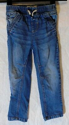 Boys Next Blue Whiskered Denim Drawstring Waist Regular Fit Jeans Age 3-4 Years