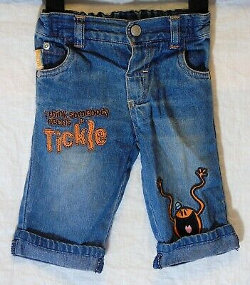 Baby Boys Next Blue Denim Embroidered Mr Men Tickle Turn Up Jeans Age 3-6 Months