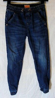 Boys Next Dark Blue Whiskered Denim Drawstring Waist Cuffed Jeans Age 8 Years