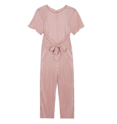 GIRLS TED BAKER Light Gold Pink Plisse Tie Bow Party Jumpsuit Age 10 RRP£42