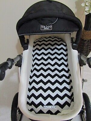 Pram bassinet liner-Black chevron-Fits all pram bassinets