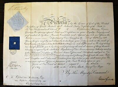 Army Commission signed Queen Victoria  & Edward Cardwell - War secretary 1870