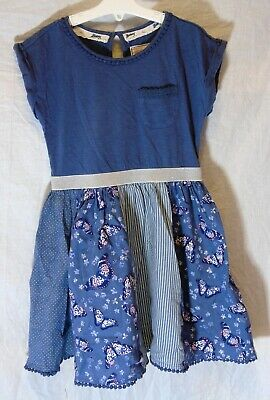 Girls Debenhams Blue Butterfly Ditsy Patchwork Short Sleeve Dress Age 6 Years