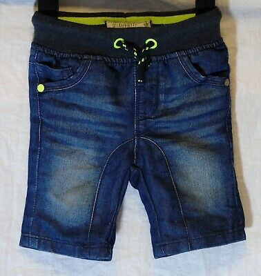 Baby Boys Next Blue Whiskered Denim Drawstring Waist Shorts Age 12-18 Months