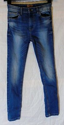 Boys Next Mid Blue Whiskered Denim Adjustable Waist Skinny Jeans Age 10 Years