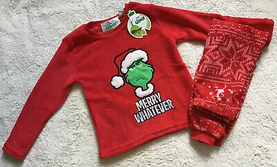BNWT Primark Christmas Boys Dr Seuss The Grinch Fleece Pyjamas Age 5-6 years