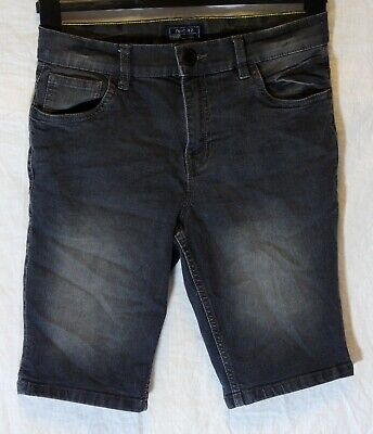 Boys Next Dark Grey Black Denim Adjustable Waist Long Board Shorts Age 13 Years