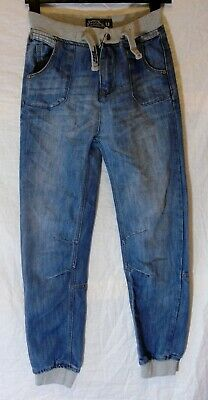 Boys No Fear Mid Blue Whiskered Denim Ribbed Waist Cuffed Jeans Age 13 Years