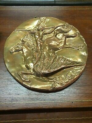 Arts & Craft Pegasus Round Copper Wall Mounted Plaque