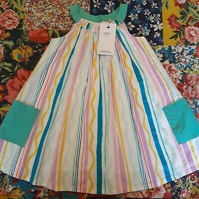 Marks & Spencer Age 2-3 Bnwt Girls Striped Summer Dress Holiday M&S New
