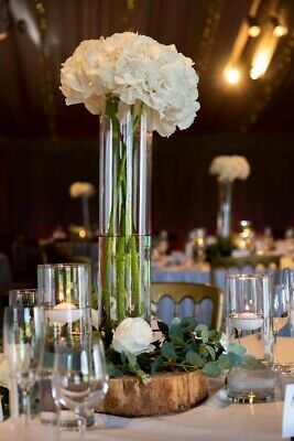 Cylinder Glass Wedding Centrepiece Vases x7 | 50cm Tall | Used once